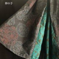 【即納】袴風和柄ワイドパンツ 大島紬緑紫 着物リメイク メンズ レディース フリー