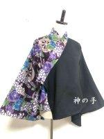 着物袖風和柄羽織り 黒×紫青花