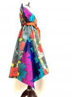 浴衣着物ドレス和柄アシンメトリーワンピース グレー赤花×アフリカンファブリック 〜3L