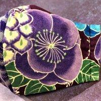 【即納】夏用!紫花×着物銘仙糸菊 和柄立体型マスク 不織布内蔵 サイズL
