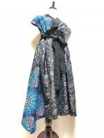 【即納】大島紬×アフリカンファブリックブルー着物ドレスアシンメトリーワンピース 和柄 着物リメイク