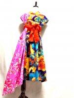 桜柄×紫大花鮮やか着物ドレスアシンメトリーワンピース 和柄 着物リメイク