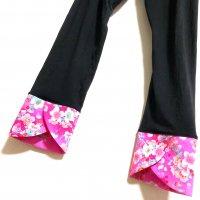 お腹すっぽり!裾変わりデザイン レギンスパンツ 黒×ピンク桜 和柄