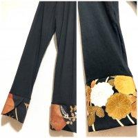 【即納】お腹すっぽり!裾変わりデザイン レギンスパンツ 黒×黒留袖ゴージャス 和柄