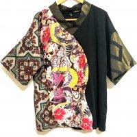 和柄和装カットソー・着物風トップス 芸者ロック×大島紬やゴールド 着物リメイク Tシャツ