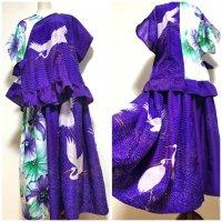 和装羽織り裾フリルトップスブラウス&スカートセットアップ 和柄 着物リメイク 白鷺×紫大花