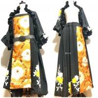 【即納】ワンピースにもなるバルーンスカート&フリルボレロ 黒黄色花×オレンジゴールド帯 着物リメイク M〜4L