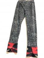 【即納】お腹すっぽり!裾変わりデザイン和柄レギンスパンツ クール!ロックストーン×赤黒幾何学模様 着物リメイク