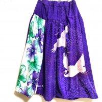【即納】和柄ウエストスッキリヨーク切替ロングスカート 白鷺×大紫花 着物リメイク