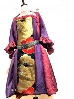 【即納】ワンピースにもなるバルーンスカート&羽織りボレロ 朱赤紫×黒レトロ帯梅松 着物リメイク M〜4L