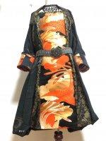 【即納】ワンピースにもなるバルーンスカート&羽織りボレロ 黒正絹金波×鳳凰帯 着物リメイク M〜3L