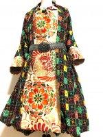 【即納】ワンピースにもなるバルーンスカート&羽織りボレロ レトロな花柄×金彩鳳凰帯 着物リメイク M〜4L