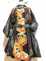 【即納】ワンピースにもなるバルーンスカート&羽織りボレロ 泥大島×金彩鶴帯 着物リメイク M〜4L
