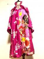 【即納】ワンピースにもなるバルーンスカート&羽織りボレロ ローズピンク×振袖鮮やか 着物リメイク M〜4L