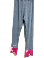 【即納】お腹すっぽり!裾変わりデザイン和柄レギンスパンツ グレーリブ×ローズピンク花 着物リメイク