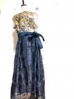 【即納】和柄ノースリーブワンピースドレス シャンパンゴールド虎×オパール薔薇 着物リメイク
