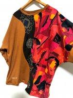 【即納】和柄オーバーサイズカットソー 黄土色×アート写楽や浮世絵 トップス 長袖
