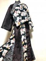 【即納】和柄セットアップ和装スーツ 羽織り&マーメイドスカート 浮世絵×紬2種 着物リメイク