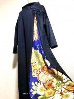 和柄振袖着物リメイクワンピースドレス スッキリノーマル袖 上質ネイビー×紺花ビジューモチーフ