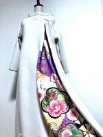 和柄振袖着物リメイクワンピースドレス スッキリ袖 ベージュ×紫白金彩 M〜XL 丈125