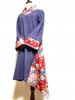 【即納】和柄着物襟風アシンメトリーワンピース ジャガードパープル×赤華 L