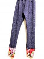 【即納】お腹すっぽり!裾変わりデザイン和柄レギンスパンツ パープルジャガード×赤華
