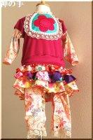 ★一点物・受注作製★和柄女の子用スカート付きセパレート風カバーオール�ベビー服・60,70,80,90