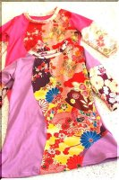 ★一点物・受注作製★和柄・レイヤード風Tシャツワンピース☆ベビー,キッズ,レディース