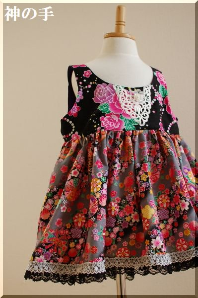 0b5a5ed95aab3 和柄・ギャザーワンピース 黒とピンクで女の子キッズ- 手作り子供服の ...