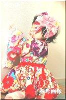 ★一点物・受注作製★和柄・着物風袖カシュクールバルーンワンピース☆ベビー,キッズ,レディース