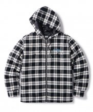 QUILTED HOODED PLAID NEL  ZIP UP SHIRT