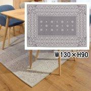 【送料無料】ラグラグ マット/エスニックデザイン/滑り止め付き/90×130cm/2カラー