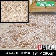【送料無料】ラグ/カーペット/ニケ00/ベルギー/床暖/191×286 本間3畳/受注生産