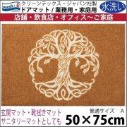 【送料無料】玄関マット ドアマット/ウォッシュ&ドライ/洗える/木 ブラウン/50×75cm