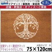 【送料無料】玄関マット ドアマット 中型/ウォッシュ&ドライ/洗える/木 ブラウン/75×120cm