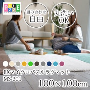 【送料無料】丸洗いOK!滑り止め加工/20カラーEXマイクロパズルラグマット/組み合わせ可100×100cm単品