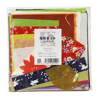 端紙セット(30g)【アワガミファクトリー】さまざまな色柄の阿波和紙がランダムに入ったセットです。【メール便対応】