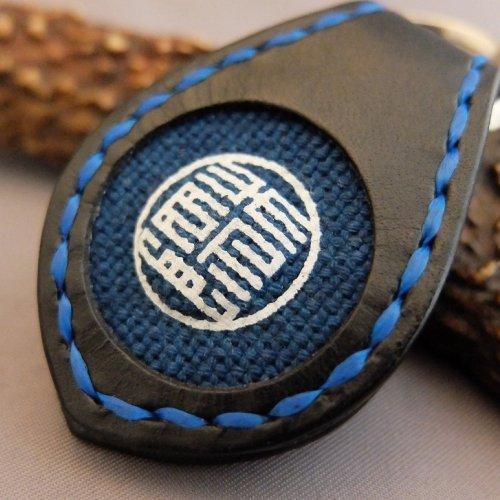 【黒革】藍マーク・コイン入れ付きキーホルダー【RONIN】
