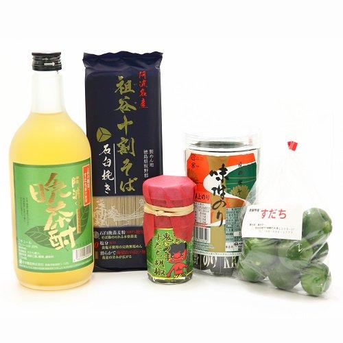 すだち果汁入り晩茶酎と祖谷そばセット【すだちフェア限定ギフト】【送料込み】