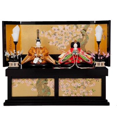 雛人形 三五 親王飾り 黄櫨染御袍 本金手描き蒔絵収納台 小出松寿 藤沢瑞馨