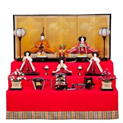 雛人形 三五 収納台5人飾 清水久遊(ひいな) 小宮雄峰 黄櫨染 三白官女