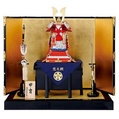 鎧飾り 奉納飾  12号式正 赤糸威肩白大鎧 造形甲冑力石