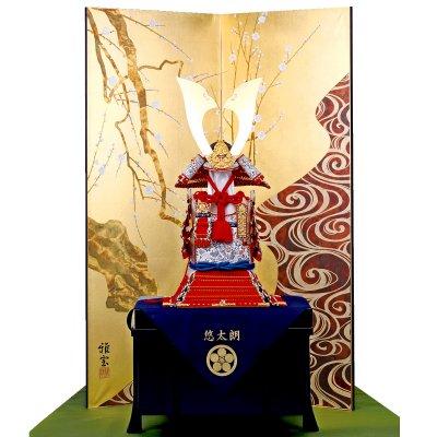 鎧飾り 奉納飾  13号式正 赤糸威大鎧 造形甲冑力石 尾形光琳屏風