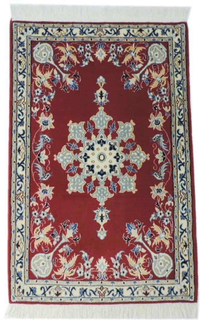 w300 ペルシャ絨毯・カーペット ウール&シルク 手織り ペルシャ絨毯の本場(イラン ナイン産) 玄関マットサ…