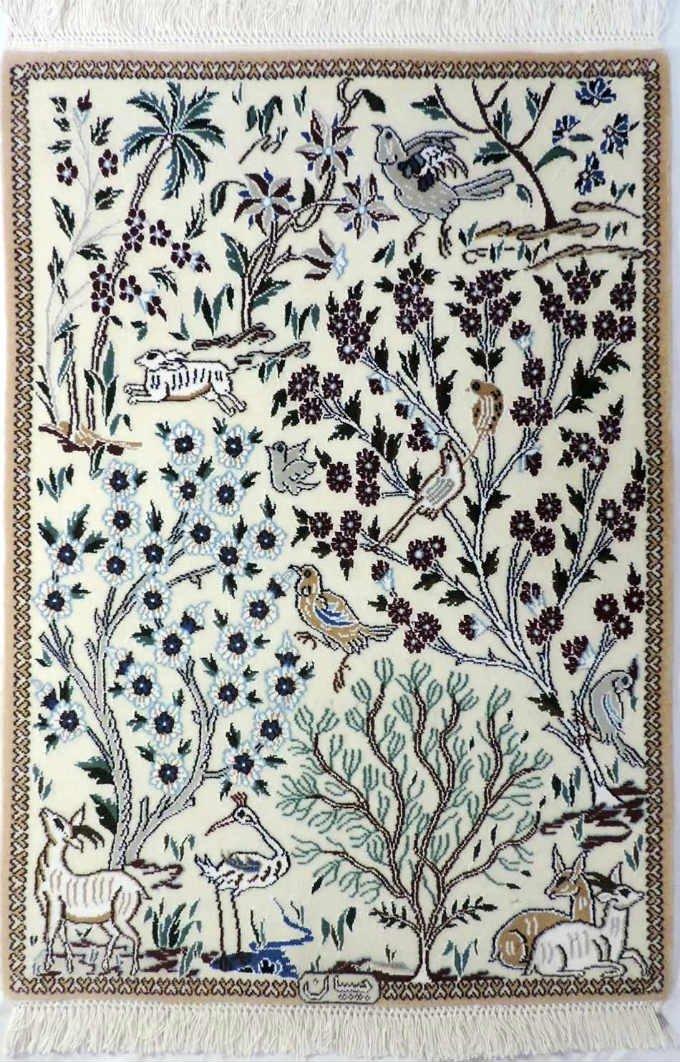 w289 ペルシャ絨毯・カーペット ウール&シルク 手織り ペルシャ絨毯の本場(イラン ナイン産) 玄関マットサ…