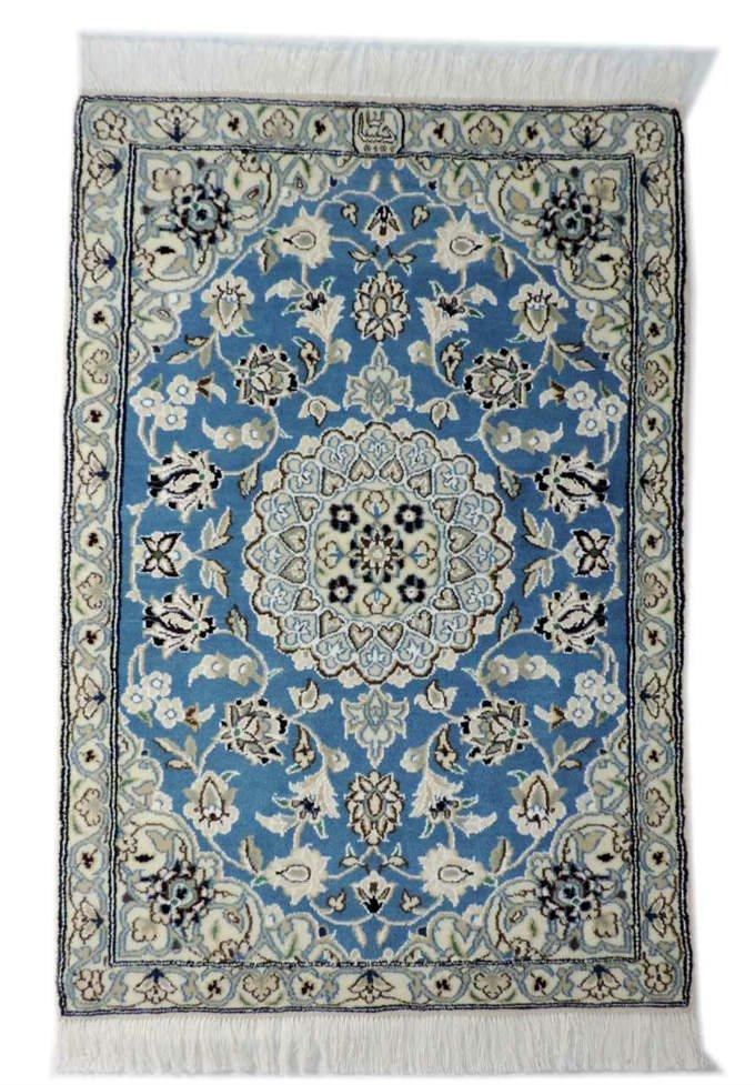 w250 ペルシャ絨毯・カーペット ウール&シルク 手織り ペルシャ絨毯の本場(イラン ナイン産) 玄関マットサ…