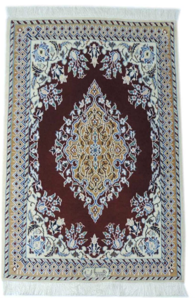 w299 ペルシャ絨毯・カーペット ウール&シルク 手織り ペルシャ絨毯の本場(イラン ナイン産) 玄関マットサ…