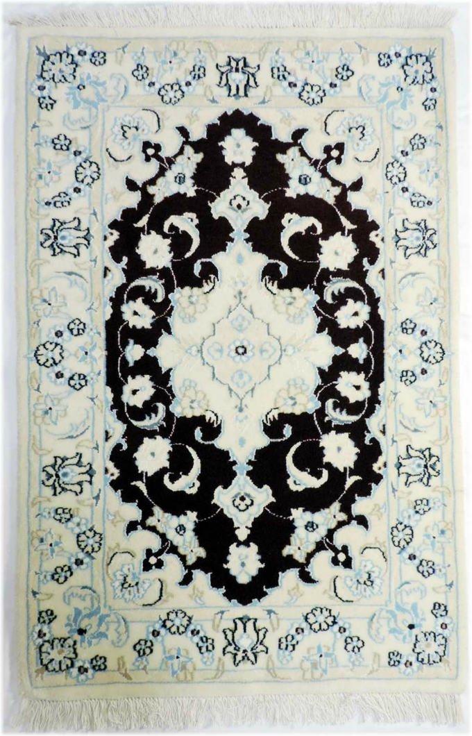 w277 ペルシャ絨毯・カーペット ウール&シルク 手織り ペルシャ絨毯の本場(イラン ナイン産) 玄関マットサ…