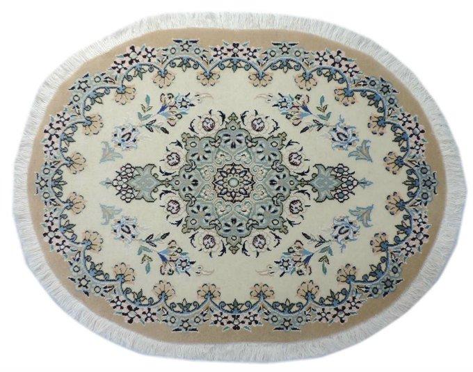 w297 ペルシャ絨毯・カーペット ウール&シルク 手織り ペルシャ絨毯の本場(イラン ナイン産) 玄関マットサ…