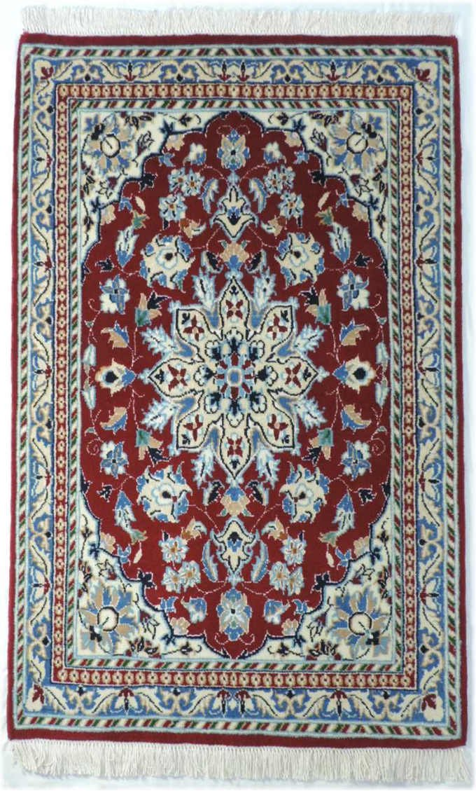 w290 ペルシャ絨毯・カーペット ウール&シルク 手織り ペルシャ絨毯の本場(イラン ナイン産) 玄関マットサ…